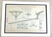 French Architectural Print Cast Iron Structural Engineering Drawing Diagram 1882