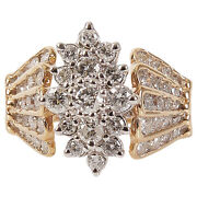 European Gold 14k Ring With 55 Diamonds - Second Half Of 20th Century