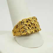 Solid 24k Yellow Gold Large Diamond Cut Mens Nugget Ring Size 7.5 9.7 Grams