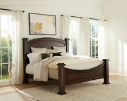 In Stock - Amish Traditional Post Bed Curved Headboard Solid Wood King Queen