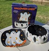 Halloween Ghost Susan Winget 2pc. Set Hand Painted Cookie Platter And Candy Bowl