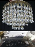 Vintage Crystal Chandelier Prism 3 Tier Flush Small Ceiling Light Made In Italy
