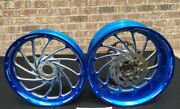 240 Hayabusa Candy Blue Contrast Cut Turbo Wheel Package For Hayabusa 1999-2007
