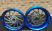 240 Hayabusa Candy Blue Contrast Cut Turbo Wheel Package For 2008-2012 Hayabusa