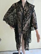 Antique Victorian Black French Tambour Lace Mourning Shawl/wrap W/flounce