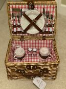 Picnic Time Catalina Red/white Picnic Basket For Two, With Texsport Mess Kit.