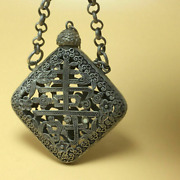Chinese Tibetan Silver Copper Hand Carved Statue Snuff Bottle Necklace Pendant