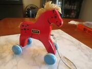 Vintage Brio Pull Toy-rolling Red Horse With Blue Wheels - Beautiful