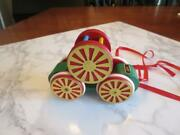 Vintage Brio Pull Toy-rolling Train Car W/separate Bell Cage