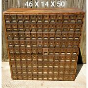 Antique U.s. Post Office Oak Cabinet Mail Box 108 Brass And Glass Boxes With Keys