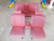 1972 Mercedes W108 280sel 4.5 Front Rear Left Right Seat Set Maroon Red Mb Tex