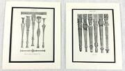 1899 Pair Of Antique Prints Sheraton Furniture Wooden Carvings Architectural