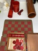 Vintage Red Bakelite Dice Cup Dice Checker Tube Leather Case Checkers Backgammon