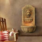 Roman Outdoor Wall Water Fountain With Light Led 29 1/2 Lion Head Garden Home