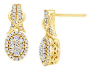 0.5 Ct White Natural Diamond Oval Drop Earrings In 9k Yellow Gold -igi