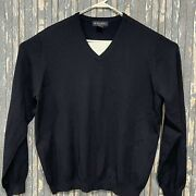 Brooks Brothers Stretch Wool V-neck Sweater Black Mens Size Large