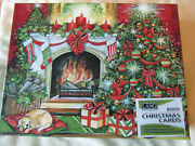 Lang Boxed Christmas Cards Christmas Warmth Set Of 18 New Glitter Dog Fireplace