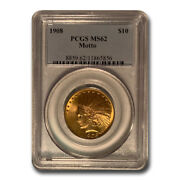 1908 10 Indian Gold Eagle W/motto Ms-62 Pcgs - Sku20728