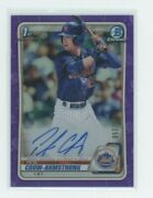 Pete Crow-armstrong Auto 1st 2020 Bowman Chrome Draft Purple Refractor /250 Rc