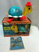 Vtg Fisher Price Musical Wooden Pull Toy Tip-toe Turtle 773 W/ Box And Catalog
