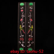 """12.5""""old Chinese Antiques Old Black Sandal Wood Inlaid Gem Shell Town Ruler"""