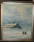 Winter Barn And Two Milk Cans Oil On Canvas Jorge Tarallo Braunframed 22wx25l
