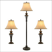 Smeike 3 Pack Lamp Set 2 Table Lamps, 1 Floor Lamp, 3-piece Vintage Style Table