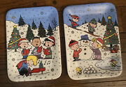 2 Danbury Mint Peanuts Snoopy Christmas With Charlie Brown Display Plates
