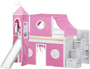 Jackpot Princess Low Loft Stairway Bed With Slide Pink And White Tent And Tower