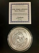 Anne Stokes 5 Oz Skull Embrace Antiqued Silver Round 003/500 .999 Very Low Coa