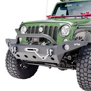 Full Width Front Bumper With Winch Plate Fit For 07-18 Jeep Wrangler Jk