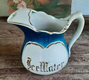 Antique Dresden Hotel China Large Pitcher Ice Water Gold Lettering Vgc Rare