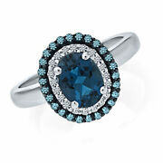 London Blue Topaz And Natural Diamond Ring In 9k Solid Gold -igi