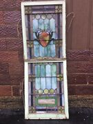 """Antique Large 2 Piece Church Leaded Stain Glass Window - 28.5"""" W X 76.5"""" T"""