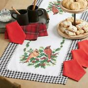 Herrschnersandreg Holly And Cardinal Table Runner And Napkins Stamped Cross-stitch