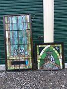 Antique Very Large 2 Piece Church Leaded Stain Glass Window - 34andrdquo X 103andrdquo- Nice