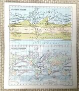 1890 Antique Map Of The World Climate Ocean Currents Oceanography Meteorology