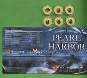 2016 Pearl Harbor 75th 1/10 Ounce .9999 Fine Gold Perth Mint 15 Lot Of 6