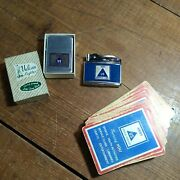 2 Vintage U.s. Army Service Clubs Vulcan Lighters 1 In Box With Playing Cards