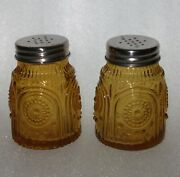 Pioneer Woman Adeline Large Amber Salt And Pepper Shakers Circles And Arches Mark