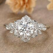 Real Moissanite Floral Engagement Ring Solid 14k White Gold Round Cut 2.50 Ct