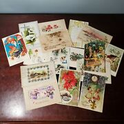 16 Antique Holiday Postcards W/ Tax Stamps Christmas Thanksgiving New Years