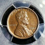 1917-d 1c Lincoln Wheat Cent, Ms62 Brown Pcgs.