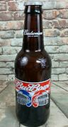 Large Collectible Budweiser Bud Bowl 2002 Glass Beer Bottle 14.5 Great Shape