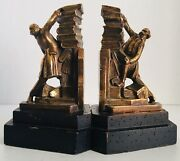 Bookends Colonial Man Stacking Books Metal Wood Gold Vintage Maybe Antique