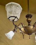 Vintage Lighting 1905 Large Gas Electric Brass Chandelier. Extraordinary