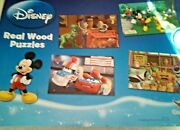 4- 24 Pc Wood Puzzle Set Disney Mickey Mouse Clubhouse Toy Story Cars W Storage
