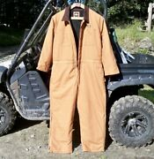 Menand039s Duck Insulated Coveralls Brown Duck 2xl Nwot
