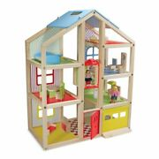 Melissa And Doug Hi-rise Wooden Dollhouse With 15 Pcs Furniture - Garage And Wo...