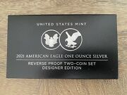 American Eagle 2021 One Ounce Silver Reverse Proof Two-coin Set In Hand